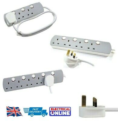 3 / 4 / 5 Gang/Way Extension Lead Grey and White - Extension Leads - Switched