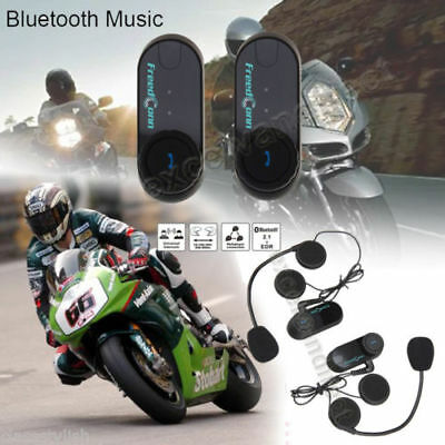 2X 800m Moto casque Interphone BT Bluetooth Motorcycle Helmet Wireless Intercom