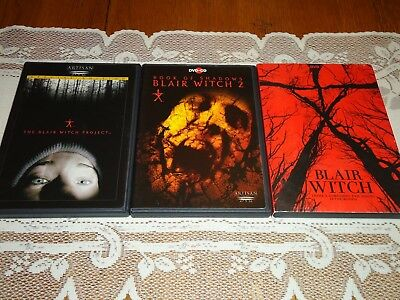 The Blair Witch Project 1 and 2 Book of Shadows and Blair Witch 2016, 3 DVD Set