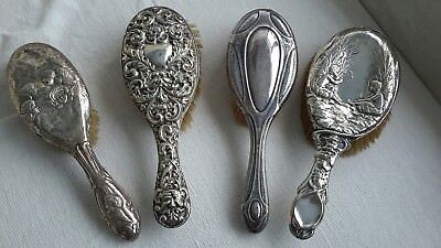 Lot of HALLMARKED STERLING SILVER Hairbrushes x4
