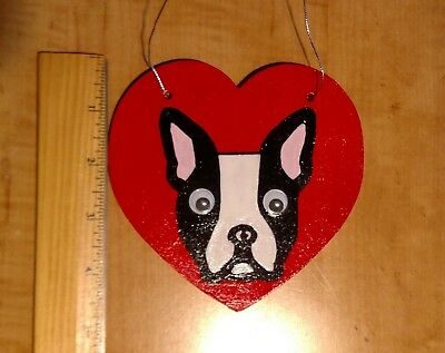 Handmade Boston Terrier Wood Ornament - 1
