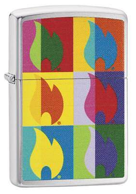 Zippo 29623, Abstract Flame, Brushed Chrome Lighter, Full Size