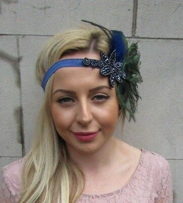 Navy Blue Green Peacock Feather Headpiece 1920s Headband Flapper Gatsby 5494