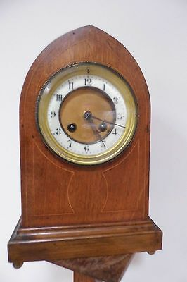Art nouveau French Mantle clock Cathedral shaped inlaid antique Edwardian c1900