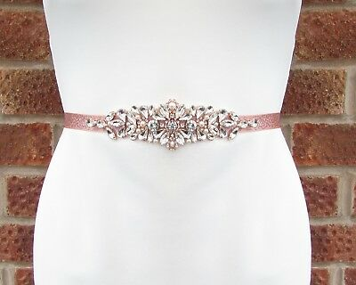 Ivory Pearl Rose Gold Silver Diamante Wedding Dress Belt Crystal Sash Vtg 5496