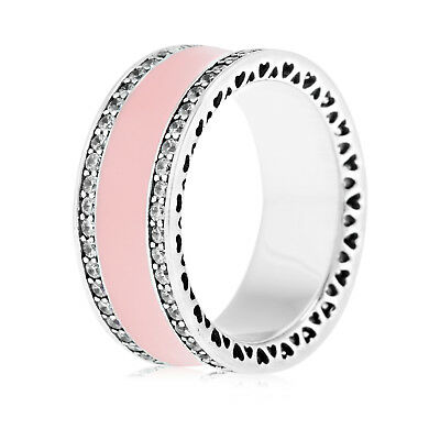 Genuine Silver Pink Hearts of Pandora Band Ring 191024EN40 All Size in Stock