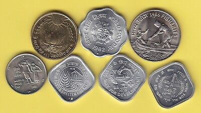 India  nice lot of 7 small FAO coins, all BU
