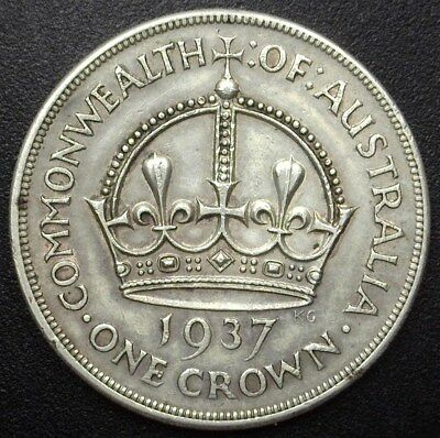 Australia 1937 Silver Crown  Y#20  About Uncirculated
