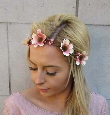 Pink Nude Daisy Flower Headband Garland Hair Crown Bridal Bridesmaid Boho 5499