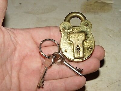 Vintage Squire Solid Brass Old English England 4 Lever Padlock Lock W/ Keys # 13