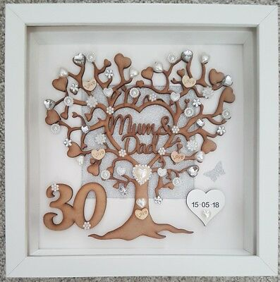 Personalised Handmade 30th Pearl Wedding Anniversary Gift Frame Mum