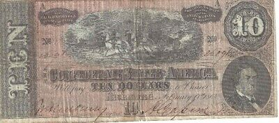 1864 $10 Confederate States Of America - Ten Dollar Bill - Rare - Must See!