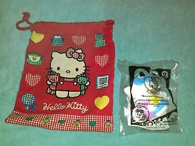 Hello Kitty Sanrio red drawstring bag and McDonald's toy lot