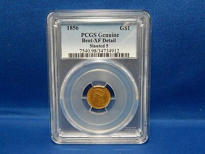 1856 US $1 Gold Coin Slanted 5 - PCGS Bent-XF Detail