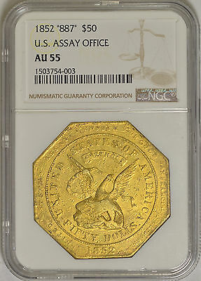 1852 $50 US Assay Office 887 Fine AU55 NGC (K-13)