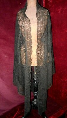 Antique Victorian/Edwardian Large Mourning Chantilly Lace Shawl