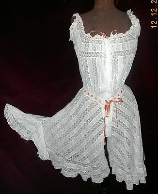 Edwardian Gibson Girl Titanic Trousseau Cotton Lace Camisole Bloomer Combination
