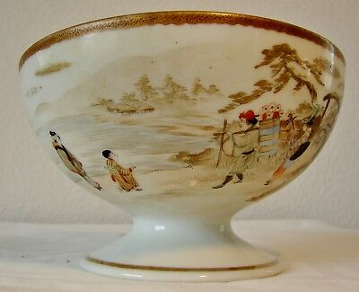 Vintage Asian, Chinese, or Japanese porcelain footed bowl hand painted in & out