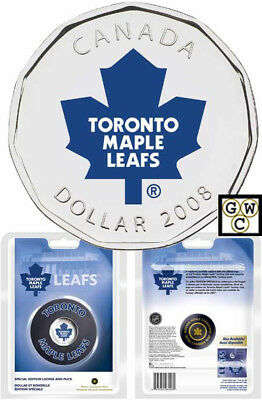2008 Hockey Puck with Colorized Toronto Maple Leafs $1 NHL Hockey Coin(12198)