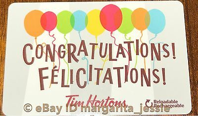 Tim Hortons Gift Card Congratulations 2017 Balloons New No Value  Fd56322 Canada