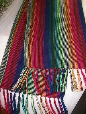 NEW - Mexican Woven Scarf / Wrap - Rainbow of Colors with Fringe