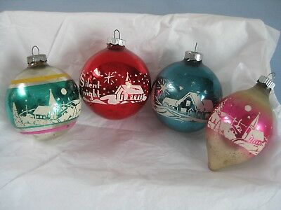 Vintage Shiny Brite Glass Christmas Ornaments red Silent Night Stencil set of 4