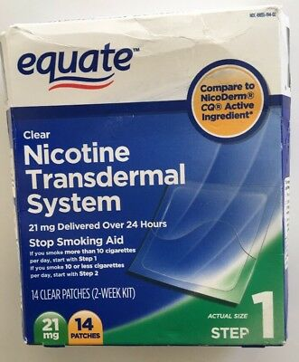 Equate Step 1 Nicotine Transdermal System 21 mg Stop Smoking Aid 14ct Clear READ