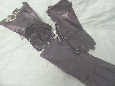 3 pair black leather women's gloves leather AS IS LOT  Size 7 Aris; wrist length