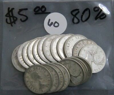 $5.00 Face Value Canada Quarters 80% Silver