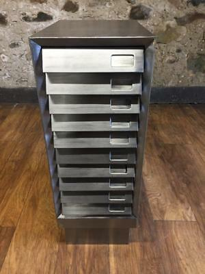 Vintage Industrial Stripped Metal 10 Drawer Filing Cabinet Storage A4