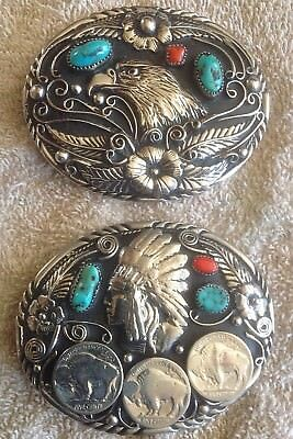 Turquoise Coral Eagle and Indian head Buffalo Nickel Sterling Belt Buckles
