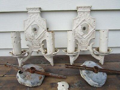 Antique Victorian Electric Candle Wall Sconce - Cast Metal - Parts