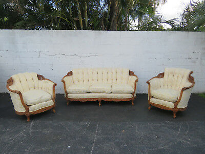 Early 1930s French Set Carved Solid Wood Sofa Couch and Pair of Chairs 8860X