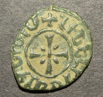 Crusader Cross Templar Coin 1100-1350 AD Europe Medieval Antique Ancient Heart