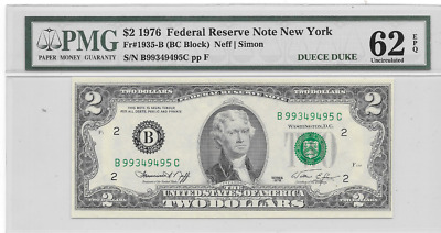 1976 $2 Federal Reserve Bank New York New York Pmg 62 Uncirculated