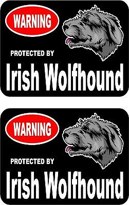 2 protected by Irish Wolfhound dog car bumper home window vinyl stickers #C