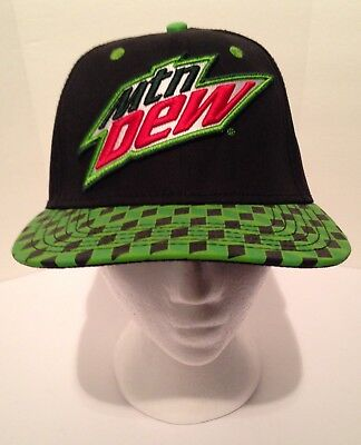 Mountain Dew 2016 Pepsi Co Inc Racing Style Checkered Bill Snapback Hat Cap