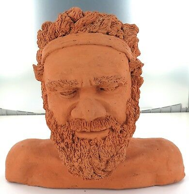 .superb Sculptured Clay Bust Of Australian Aboriginal Man, Signed