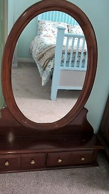 Large Antique Style Swing Dressing Table Mirror mahogany with drawers