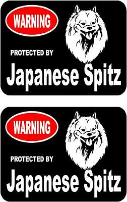 2 protected by Japanese Spitz dog bumper car home window vinyl stickers #B