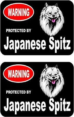 2 protected by Japanese Spitz dog bumper car home window vinyl stickers #C