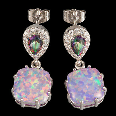 Mystic Topaz 10x10mm Lavender Purple Fire Opal Cabochon Drop Pierced Earrings