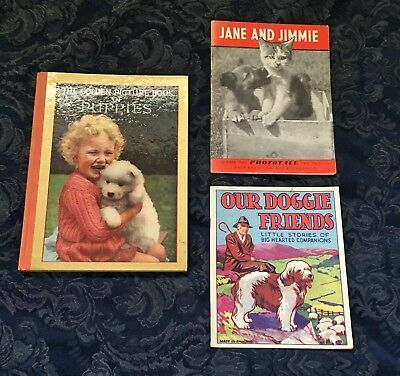 3 VINTAGE CHILDREN'S DOG BOOKS FROM THE U.K. ~  40s/50s - ALL IN GOOD CONDITION