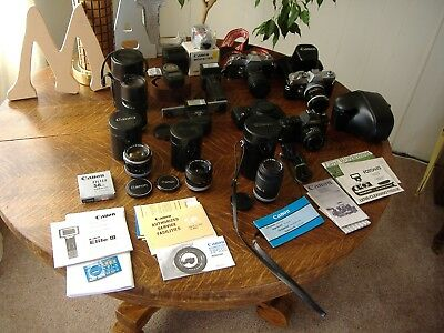 Huge Vintage 35mm  Canon Camera and Lens Lot Working Condition Extras!