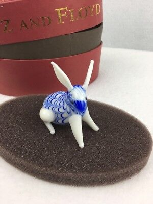 Fitz & Floyd Rabbit Glass Menagerie Blue White Easter New In The Box 43114
