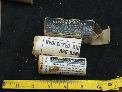 NOS 1910s Vintage WEEKS KIDNEY PILLS Medicine WOOD Bottle BOX 70D