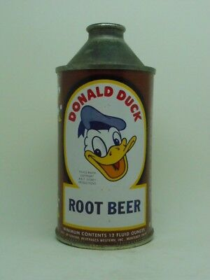 TOUGH-R 4-PRE ZIP-Donald Duck Root Beer Cone Top Soda Can-Chattanooga TENNESSEE