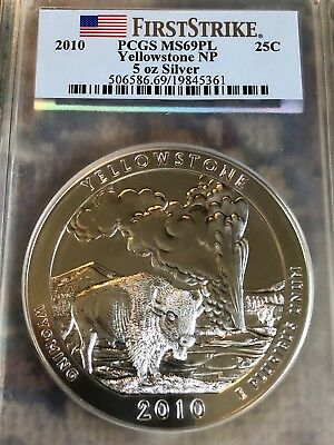 2010 Yellowstone ATB 5 oz Silver, PCGS MS69 PL, First Strike Label. Stunning!