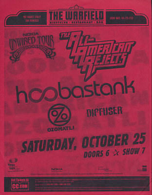 Hoobastank All-American Rejects Ozomatli Warfield San Francisco 2003 Flyer Red