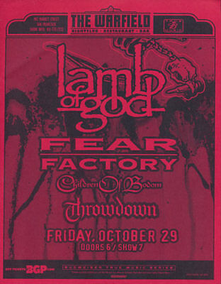 Lamb of God Fear Factory Children of Bodom Warfield San Francisco Flyer Red